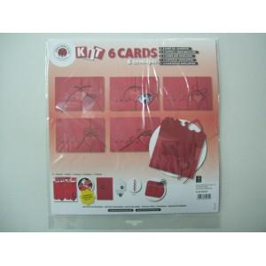 Комплект от 6 картички - покани в червено