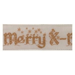 Текстилна панделка - Merry X-mas - 40 - 104
