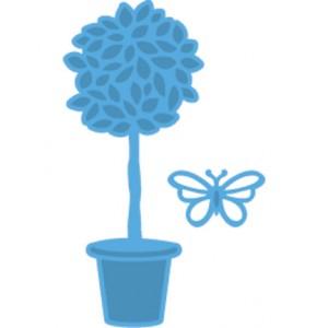 Marianne Design LR0261 - Саксийно цвете и пеперуда