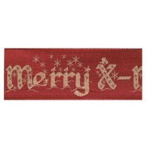 Текстилна панделка - Merry X-mas - 40 - 191