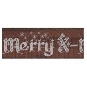 Текстилна панделка - Merry X-mas - 40 - 523