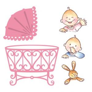 Marianne Design COL1313 - Бебешко кошче + печати