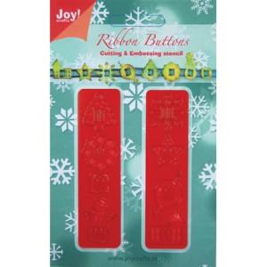 Joy crafts 6002/2004 - Две ленти с коледни мотиви и отвори за панделка