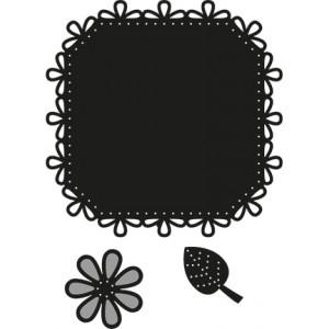 Marianne Design CR1249 - Квадратна шевица, цвете и листо