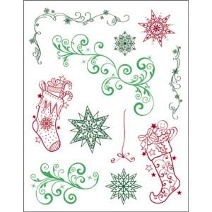Viva - Силиконови печати - Christmas Stockings & Twirls
