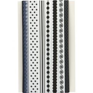 Комплект дизайнерски текстилни панделки - цвят чернен / бял