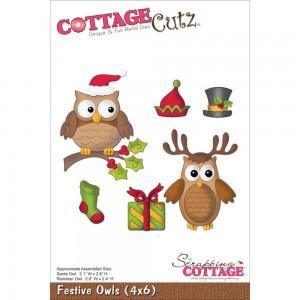 Cottage Cutz CC097 - Festive Owls (4x6)