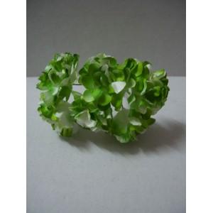 Хризантеми с брокат от мълбери хартия 6бр. - цвят Бял / Зелен