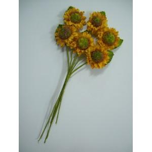 Букетче хартиени слънчогледи с листенца - 6 броя