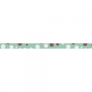 Текстилна панделка - Teal W/Brown & White Dots - 10 - 394722